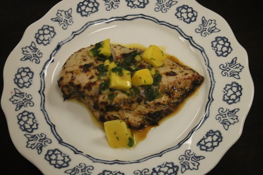 Jerk Chicken with Mango Cilantro Salsa